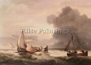 Luny Thomas Dutch Barges In Open Seas Artist Painting Reproduction Handmade Oil