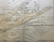 Orig 1842 Mather Geological Map Of Long Island Nyc Nj Ct 23 X 52 Framed