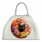 Halloween Black Cat Hiding In Candy White Metal Cowbell Cow Bell Instrument