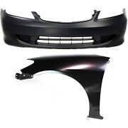 Bumper Cover Kit For 2004-2005 Honda Civic Front Bumper Cover And Fender 2pc