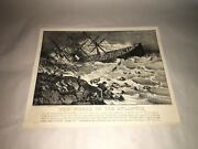 Original Currier And Ives Print The Wreck Of The Atlantic Ship Neat Mark On Back