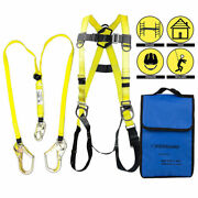 3 D-ring Full Body Fall Protection Safety Harness+2 Rebar Hooks Lanyard,yellow