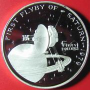 1989 Marshall Islands 50 Proof 1oz Silver First Flyby Of Planet Saturn 1979