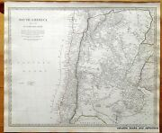 Antique Map South America 1840 Pacific Chile Bolivia Argentina