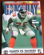 Rare September 16 2001 Giants Packers Game Day Program And Jan 6 2002 Lot 9/11