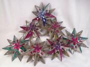 7 Tin Star Christmas Ornaments Multi Color Antique Large 5in. Rare