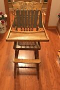 Antique Wooden Childs High Chair With Lift Up Tray