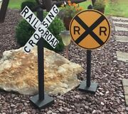 Railroad Crossing Set Of 2 Signsyardtrainbirthday Garden And Party Retirement