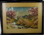 Antique Chinese Embroidery On Silk Peacocks Large Framed 23''x 18'' Hand Made