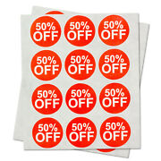 50 Off Retail Garage Sale Stickers Clearance Discount Percent Labels 10 Rolls