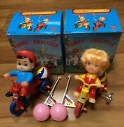 Vintage Boy And Girl Funny Tricycle Windup Tin Toy Mib Unplayed, Works, Extra Rare