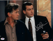 Charlie Sheen Autographed 11x14 Wall Street With Dad Signed Photo - Psa/dna