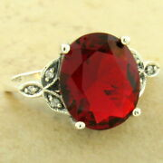 Victorian 3.5 Ct Sim Ruby 925 Sterling Silver Antique Finish Ring Size 8, 1156