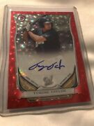 2014 Bowman Tyrone Taylor Auto Red Ref /25 Brewers Prospect Rookie Rare