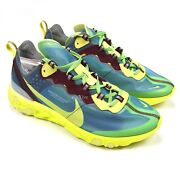 Nwt Nike X Undercover Men's React Element 87 Lakeside Blue Yellow 10.5 Authentic