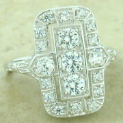 Art Deco 925 Sterling Silver 1.79 Cttw Antique Style Cz Ring Size 9,    1151