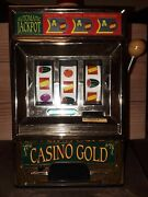 Vintage Casino Gold Slot Machine Toy - Works Great Made By Waco