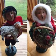 Byers Choice Carolers 1996 Boy With Lamb And Girl With Holly Basket