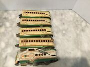 Vintage Tin Wind Up Marx 10005 Engine With 4 Cars-work