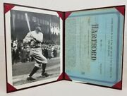 Babe Ruth Replica The Hartford Life Insurance Policy Application W/ 8x10 Photo
