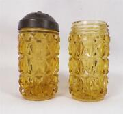 Amber Pressed Diamond Salt And Pepper Shakers Central Glass 1885 Antique 1 Has Lid