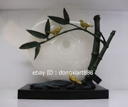 47 Cm Western Art Deco Pure Bronze Jade Three Bird Bamboo Art Ornament Sculpture