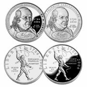2006 Benjamin Franklin 4 Coin Set Proof And Unc Silver Us Great Investment