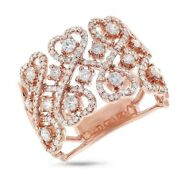 Diamond Wide Cocktail Heart Lace Ring14k Rose Gold Natural Round Cut 0.98ct 14mm