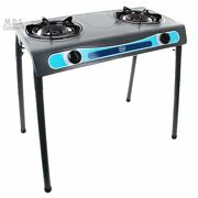 Double Head Propane Gas Burner Portable Stand Camping Outdoor Stove Stainless