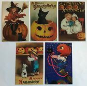 100 Halloween Postcards New Vintage Reproduction Lot 5 Designs Black Cat Witch