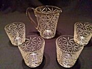 Hermes Crystal Water Jug / Pitcher And 4 Double Old Fashioned Tumblers
