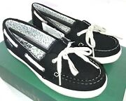 Eastland And039skipand039 Womenand039s Black Canvas Boat Shoe 3484-01m New Size 5.5m