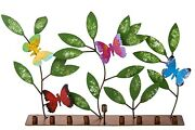 Hand Made And Painted Colorful Metal Menorah Butterfly And Leaves From Colombia
