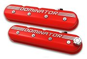 Holley 241-121 Ls Tall Dominator Valve Covers - Gloss Red W/ Machined Finish