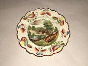 Lb2 Historical Staffordshire Cup Plate Sandy Hill Hudson River Polychrome 1835