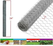 2pk Galvanized Poultry Net 2x10' Metal Mesh Fencing Chicken Wire 20ga 1 Holes