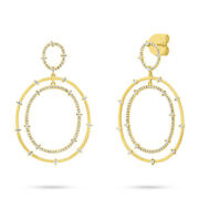 0.86 Ct 14k Yellow Gold Real Round Diamond Dangle Drop Double Halo Oval Earring