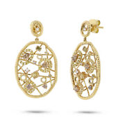 1.61 Ct 18k Yellow Gold Vintage Antique Inspired Fancy Color Diamond Earrings