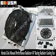 Performance Radiator+14 Racing Radiator Cooling Fan For 93- 97 Civic Delsol Mt