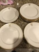 10 Lenox For And Co Gold Embossed 8' Plates Ivory With Initial