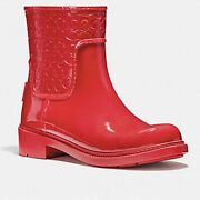 Women's Coach Signature Rain Boots In Red Size 7 Style Number Fg1877