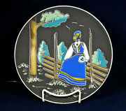 Handpainted Vistfold Norway Peasant Girl Sitting On Fence 10 Plate