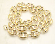 19mm Bold Puffed Mariner Anchor Link Chain Necklace Real 10k Yellow Gold
