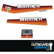 Mariner 15hp Rainbow Outboard Engine Decals/sticker Kit - 20 25 And 40hp Available