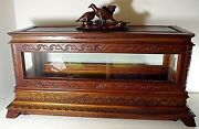 Infant Child Viewing Casket Coffin Victorian Figural Top Cherry Wood And Glass