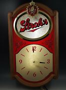 Strohs 1986 Beer Sign Clock Wall Hanging Electrik 19and039and039 X11and039and039 Vintage Working