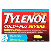 Tylenol Cold And Flu Severe Acetaminophen Caplets For Adults 24 Count 12 Pack