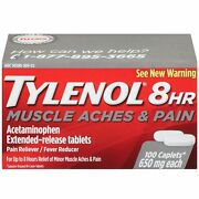 Tylenol 8 Hour Muscle Aches And Pain Caplets 100 Count Per Bottle 12 Pack