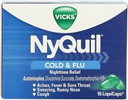 Vicks Nyquil Cold And Flu Nighttime Relief Liquicaps 16 Count - 24 Pack