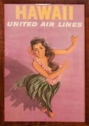 1950and039s Hawaii United Airlines Promotional Poster